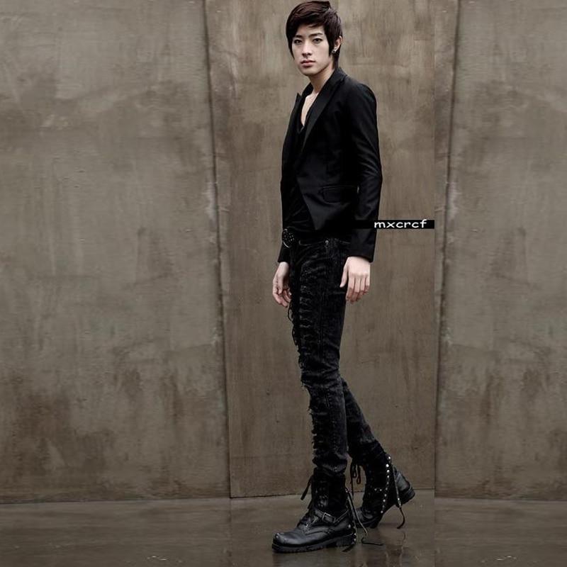 Осенние и зимние джинсы мужские толстые дырки Маленькие ноги джинсовые штаны обтягивающие эластичные брюки джинсы снежинка большой размер