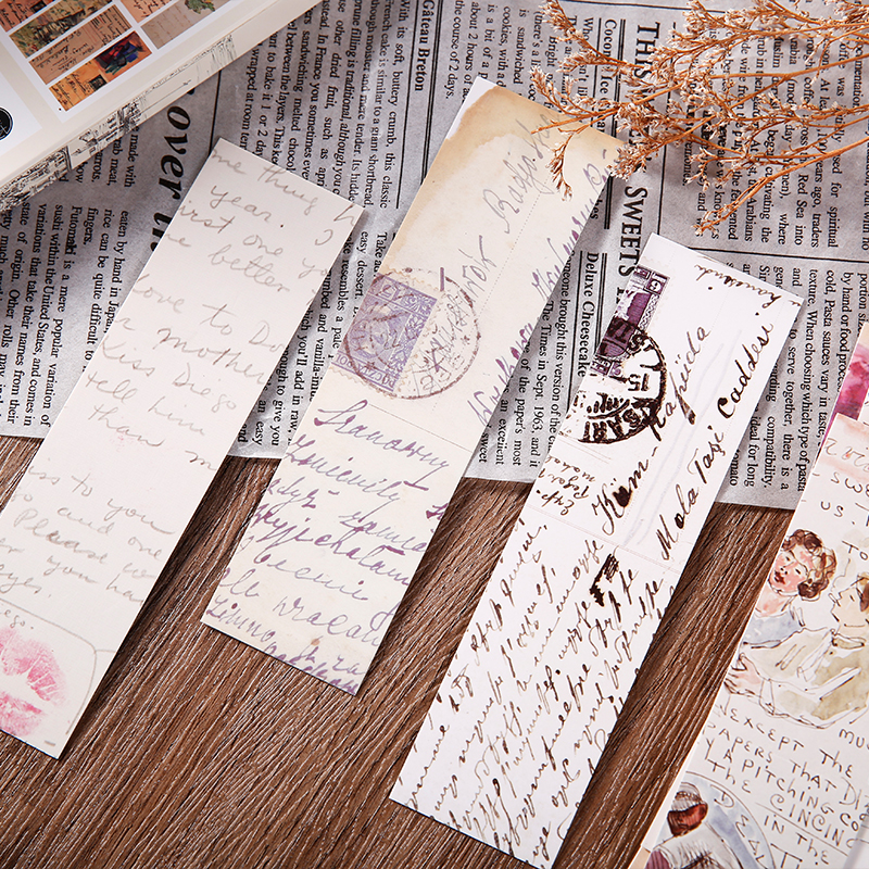 Journamm 30pcs/box Vintage Retro Style Clock Newspaper Map Bookmarks for Novelty Book Reading Maker Page Creative Paper Bookmark 4