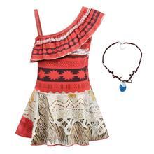 Dzieci dziewczyny ubrania Cosplay księżniczka sukienka Moana dzieci Vaiana dziewczyny kostium imprezowy sukienki z naszyjnik dziewczyna zestaw