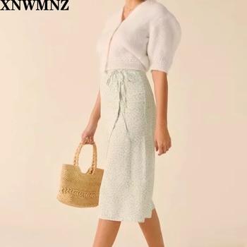 2020 za Summer wrap long skirts womens vintage lolita green floral print split high waist skirt women korean fashion streetwear
