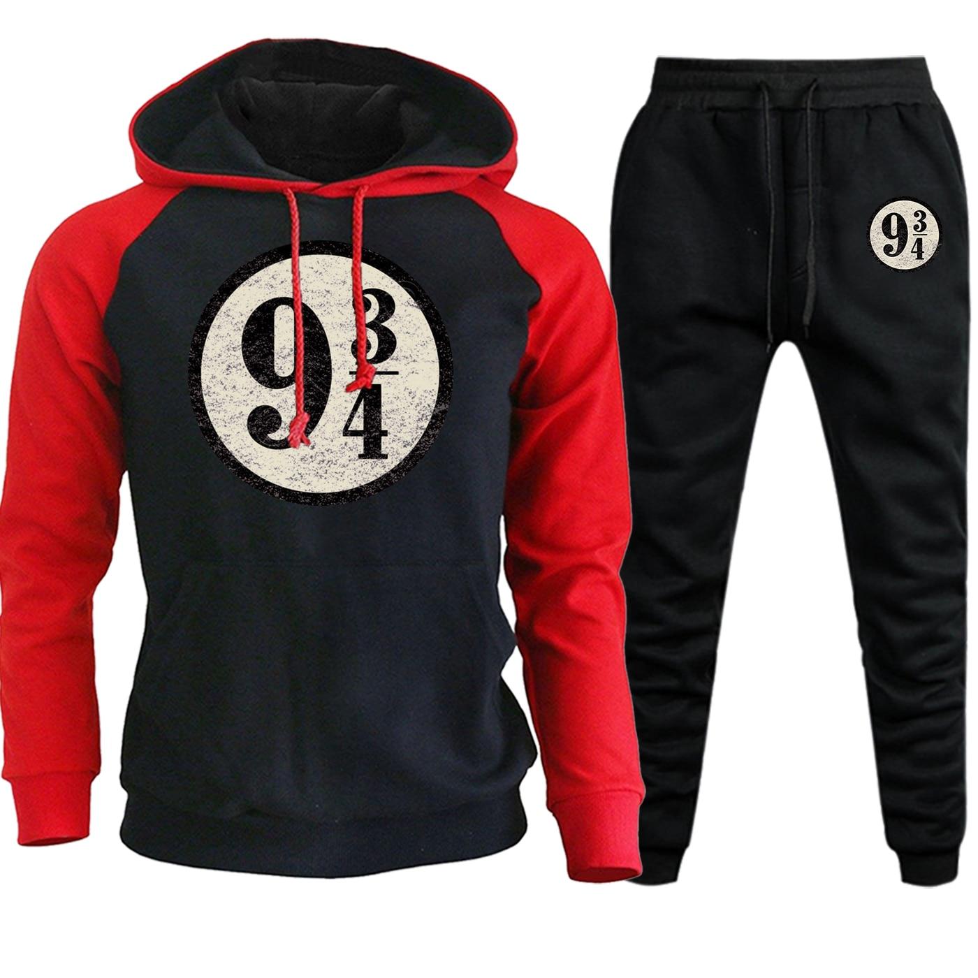 2019 Autumn Winter Hoodie Raglan Mens Sweatshirt Nine And Three Quarters Vintage Printed Suit Fleece Hooded+Pants 2 Piece Set