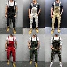 Trousers Men Jumpsuit Man Overalls Jeans Work-Pants Streetwear Ripped Fashion Slim