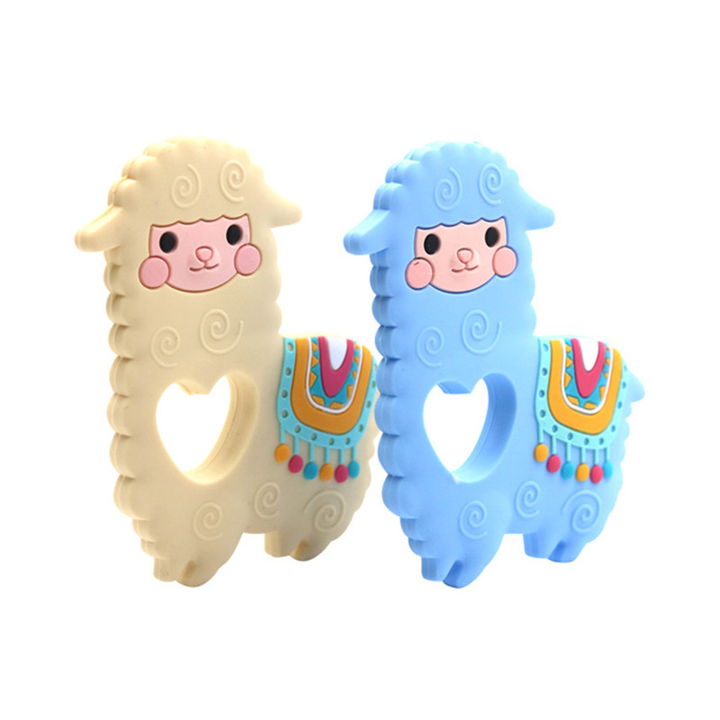 Silicone Beads 1pcs Alpaca Teether DIY Sheep Baby Chewing Pendant Nursing Sensory Teething Pacifier Dummy Jewelry Animal Toys