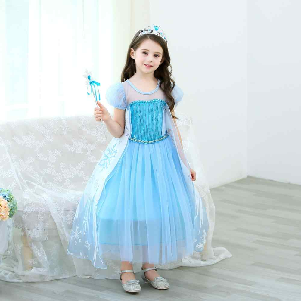 Ragazze Elsa Costume Della Principessa Dei Bambini del Vestito Della Principessa Del Partito di Ballo Elsa Vestito Costumi di Halloween Queen Elsa vestito con la Bacchetta Corona