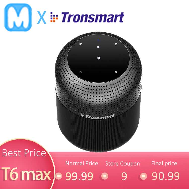 Tronsmart T6 Max NFC 60W Bluetooth Speaker Black with google assistant TWS 360 stereo sound Deep Bass home theater column(China)