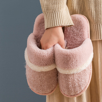 Winter New Couple Fur Shoes Solid Home Bedroom Women Fur Slipers Cotton Plush Warm Comfortable Indoor Women Furry Slippers millffy wool slippers home package with comfortable men and women couple fur large size shoes mother pregnant women shoes