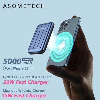 15W Magnetic Wireless Charging Power Bank 5000mAh Fast Charger Portable External Battery Powerbank for iPhone 12 Pro Max Mini image