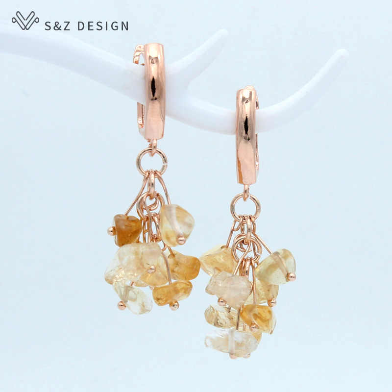 S&Z Korean Fashion Handmade Cluster Irregular Natural Amethysts Garnet Dangle Earrings For Women Fashion Jewelry Fine Eardrop