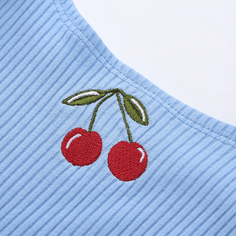 H619478fe918240af909c883524b122960 - Cotton Ribbed Cherry Embroidery Tank Top Sweet Fashion Cropped Sleeveless Summer Top Vest New Crop Tops Clothing