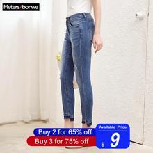 Metersbonwe, узкие джинсы для женщин, джинсы с дырками, женские синие джинсовые узкие брюки, повседневные, высокое качество, Стрейчевые женские джинсы с талией