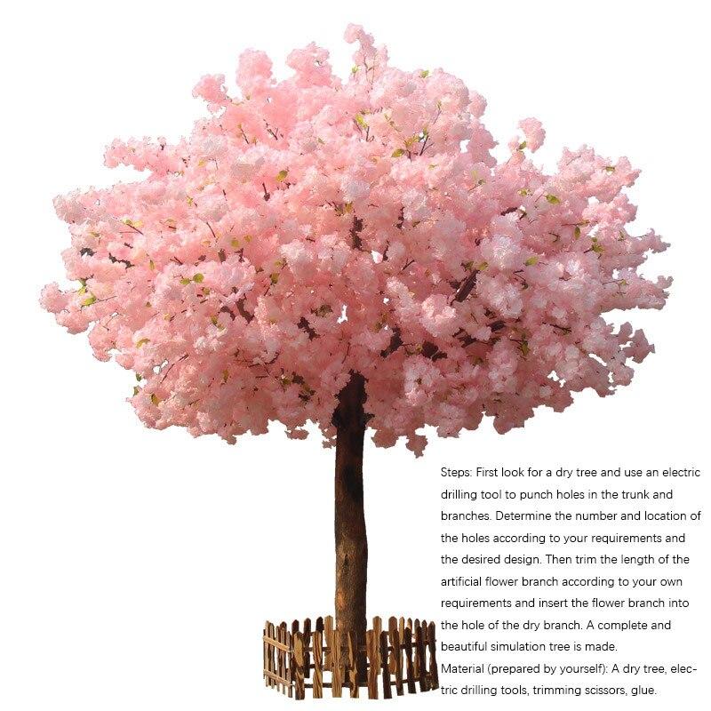 20 piezas Rama de cerezo Rosa cereza decoración boda arco flor de cerezo actividad fiesta melocotón árbol flor Rama - 3