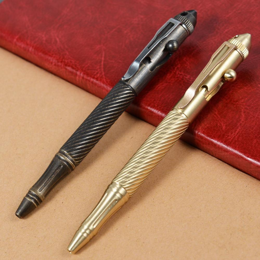 High Quality Brass Self-Defense Tactical Pen Bolt Switch Ball Point Writing Pen For Outdoor Camp EDC Tool Gift Box