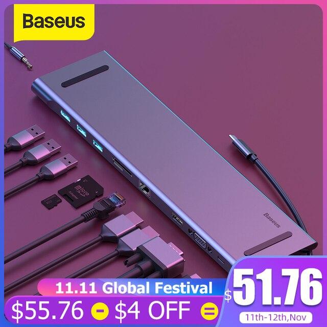 Baseus USB نوع C HUB إلى 3.0 USB HDMI RJ45 USB HUB لماك بوك برو اكسسوارات USB الخائن متعدد 11 منافذ نوع C HUB USB C HUB