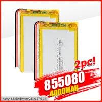 Batería Lipo de polímero de litio de larga duración, 3,7 V, 4O00mAh, 1/2/4 Uds., baterías recargables de gran capacidad, 855080