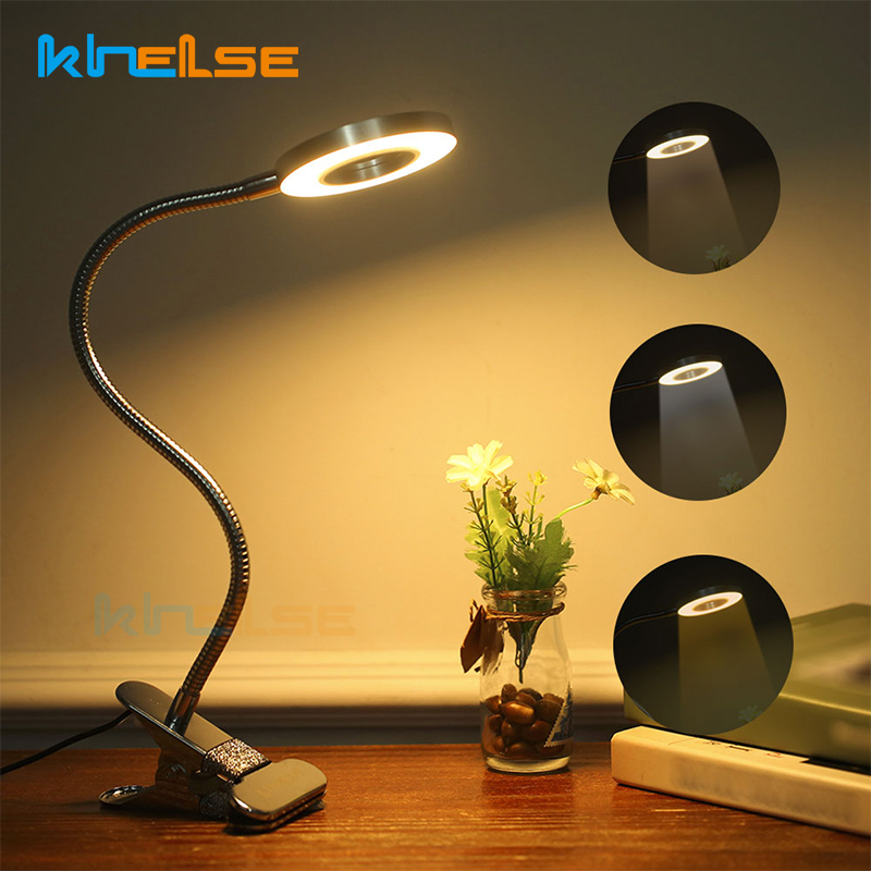 Portable LED Clip Desk Lamp Flexible 10 Level Dimming Clamp Table Lamp Reading Light Eye-Care USB Rechargeable BabyBedside Lamp