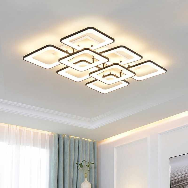 Modern LED Ceiling Lights For Bedroom Lighting Dining Fixture Home Decor  Living Room Acrylic Lamp With Remote Black White Lustre