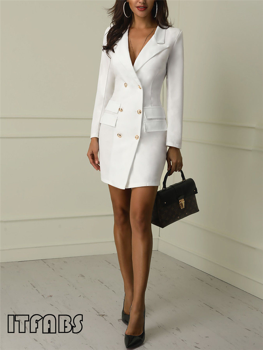 H6194ee3c7aa1416eb170c469fc53127bb Autumn Winter Suit Blazer Women 2019 New Casual Double Breasted Pocket Women Long Jackets Elegant Long Sleeve Blazer Outerwear