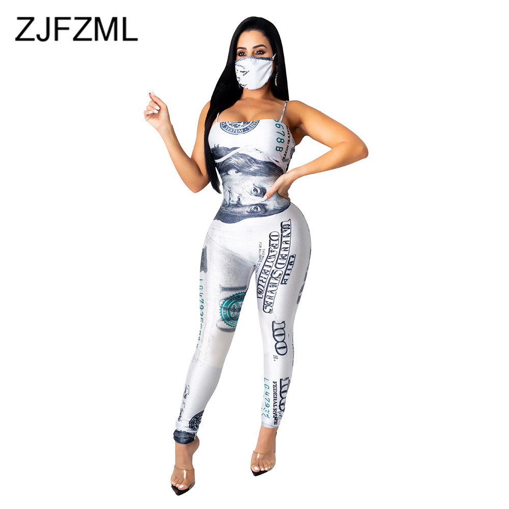 Money Dollar Print Sexy Bodycon Bodysuit Women Spaghetti Strap Open Back Club Party Jumpsuit Summer Sleeveless Slim Fit Rompers