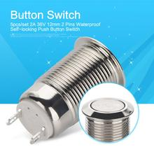 5pcs 12mm Metal Push Button Switch 2 Pins Silver Flat Head Ring/Power Self-locking Waterproof Car Auto Eng