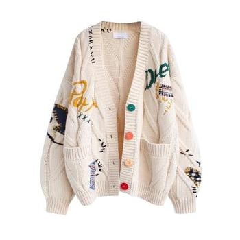 Autumn Winter Women Cardigan Warm Knitted Sweater Jacket Pocket Embroidery Fashion Knitted Cardigans Coat Lady Loose Sweaters 2020 long cardigan women sweater autumn winter bat sleeve knitted sweater plus size jacket loose ladies sweaters cardigans
