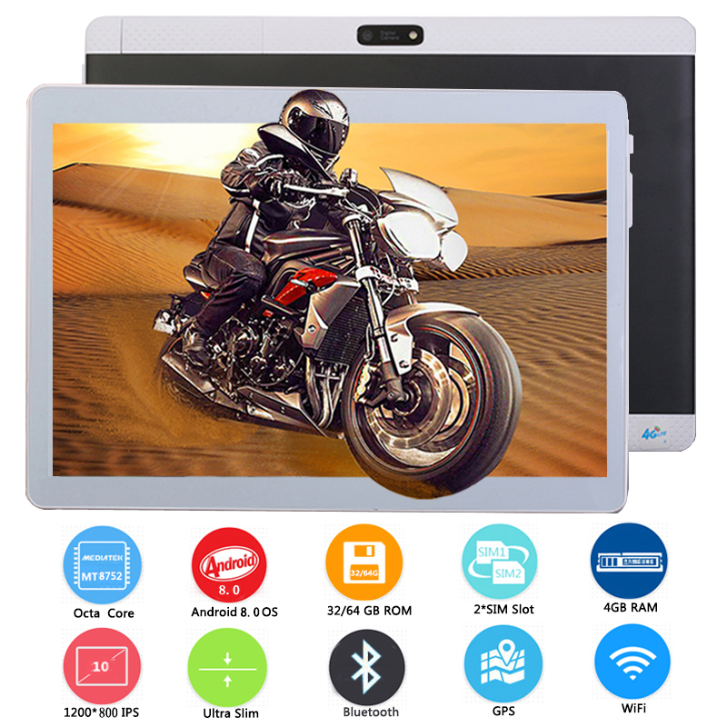 10 Inch Free Shipping Tablet PC MT8752 ARM Cortex A7 Octa Core Android 8.0 4GB RAM 64GB ROM Dual 3G/4G LTE Phone Tablet Wifi GPS