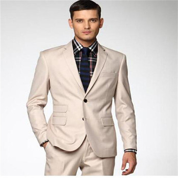 Men's Suits (Jacket+Pants) High Quality Two Button Groom Tuxedos Groomsmen Mens Wedding Suits Prom Bridegroom