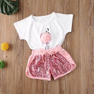Lato niemowlę dzieci zestaw ubrań dla dziewczynek wzór Flamingo pluszowa piłka T shirt topy cekiny zestaw szortów 2 sztuk