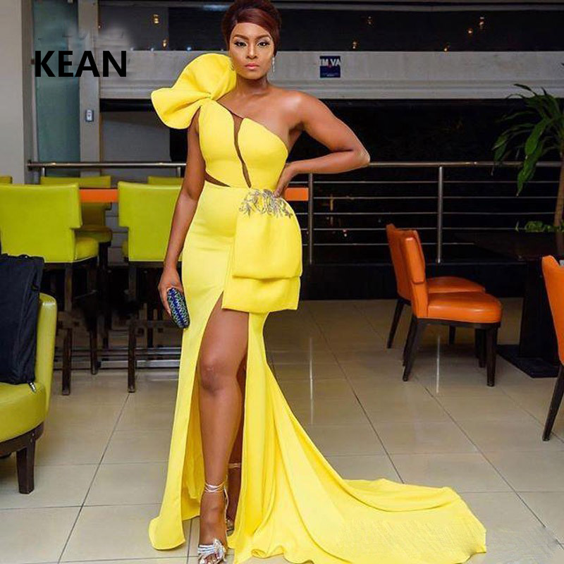 Yellow Prom Dresses Satin One Shoulder Slit Illusion Simple Party Dress Prom Gown Evening Dresses Robe De Soiree