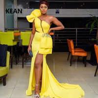 Vestidos amarillos De graduación De un hombro corto ilusión vestido Simple para fiesta vestido De Prom vestidos De noche vestido De fiesta