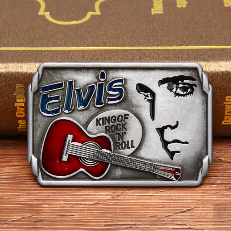Guitars The King Of Rock And Roll Elvis Guitar Music Jeans Gift Belt Buckle For Men's Belt Buckle Suitable Wide Belt