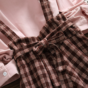 Image 5 - 2019 herbst Frauen Zwei stück set Casual Langarm Baumwolle Hemd Tops + Lange Plaid Röcke Frauen Anzug Set 2 stück Set Frauen