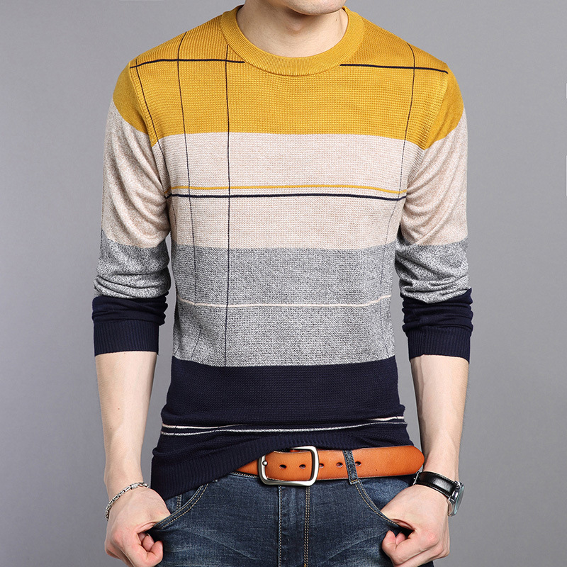 Men Sweater Knitted Casual Striped Tshirt Young And Middle-aged Sweaters Camiseta Masculina Autumn Winter Long Sleeve Streetwear