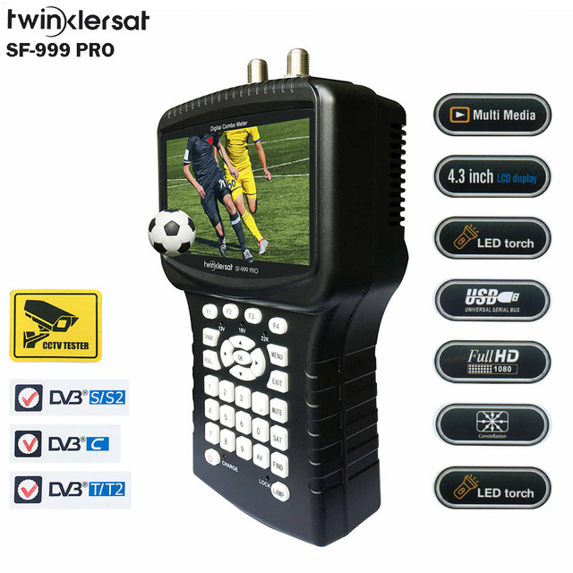 "Digital Satellite & Terrestrial & Cable HD Combo Signal Meter SF 999 PRO 4.3"" Screen Spectrum Analyzer Youtube WiFi Powervu CS"