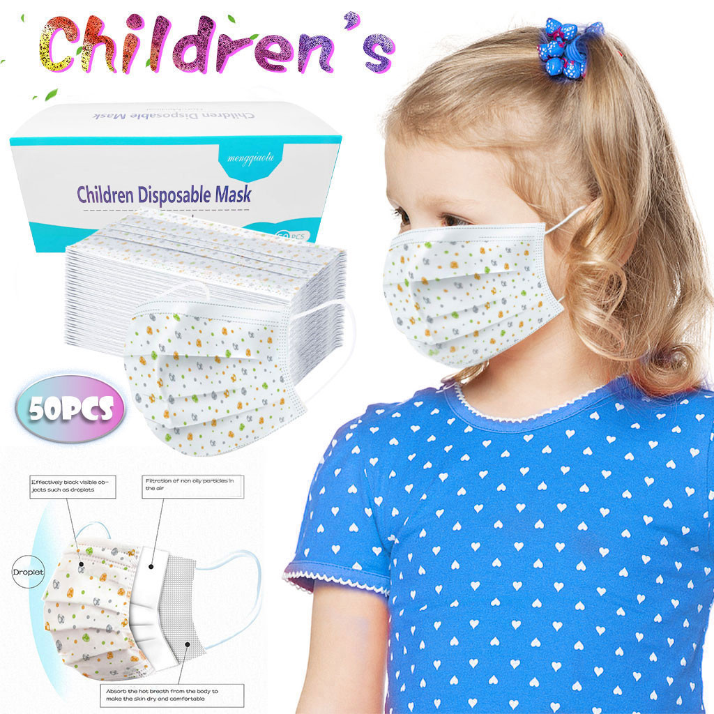 Child Mask Printing Mouth Mask Disposable Protective Masks Pm2.5 Filter Kids Mask Dust Face Masks 3Ply Earloops Masks #W