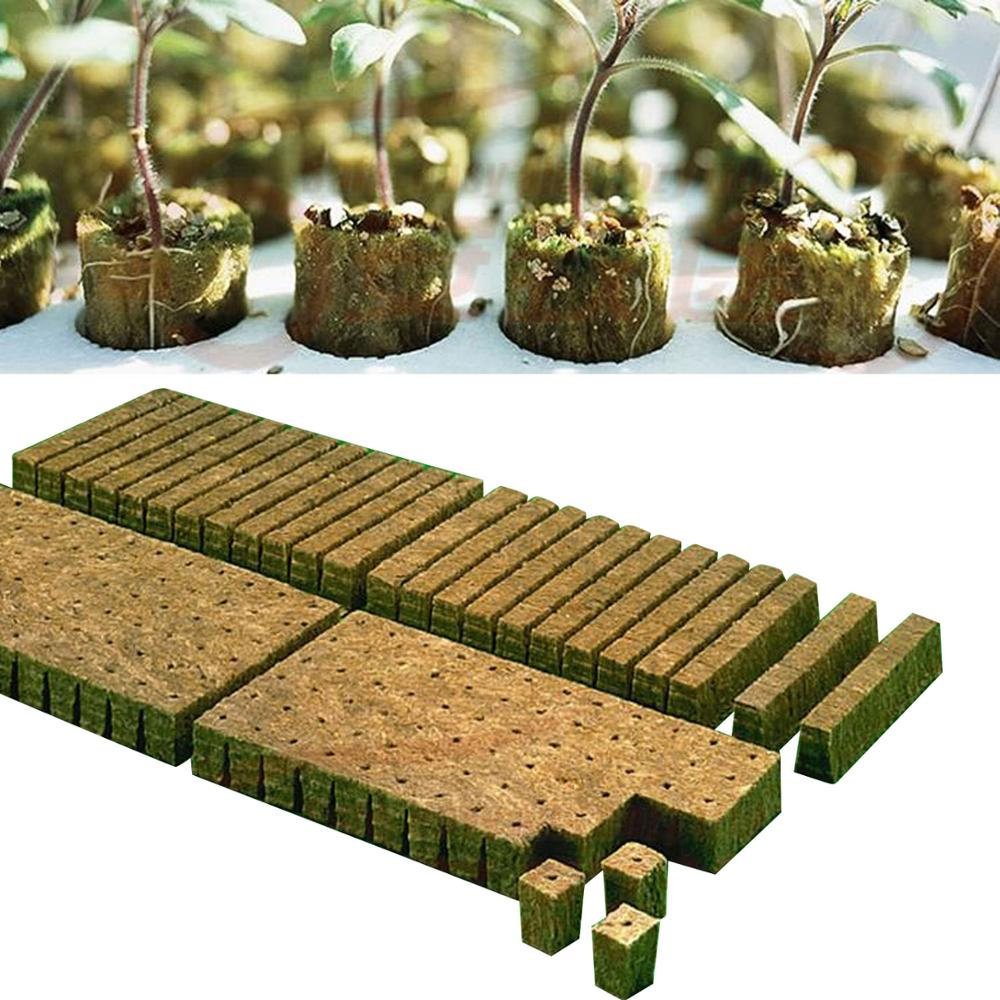Behogar 50PCS 36x36x40mm Rockwool Plant Starter Grow Plug Cubes for Garden Greenhouse Orchard Sun Room Hydroponic Applications