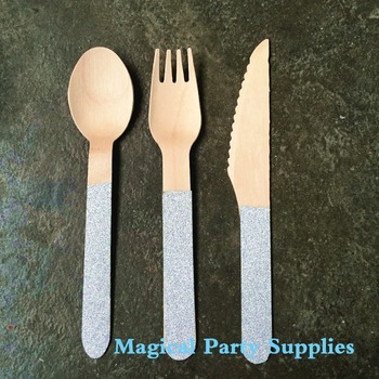 180 Pieces Glitter Silver/Gold Disposable Birch Wooden Cutlery / Utensils Camping Picnics Weddings Favor Forks/Spoons/Knives
