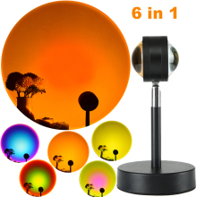 6 in 1 Sunset Rainbow Projector Night Light Living Room, Bar, Cafe Bedroom Decoration, Meditation, Yoga,Photographic Lighting