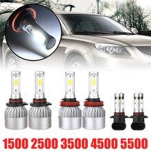 6Pcs/set White LED Headlight Fog Light Set 12V 24V  6000K Headlights For Dodge Ram 1500 2500 3500 4500 5500 tricolour 2pcs h15 7070 headlight with led bulb low beam for dodge ram 1500 2500 3500 4500 5500 2 2 2013 2014 2015 td004