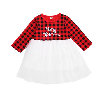 Christmas dress infant girl long sleeve plaid letter printed mesh gown puffy fashion hot sell