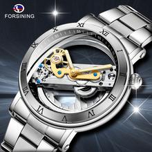 FORSINING męski zegarek mechaniczny męski luksusowy szkielet automatyczny zegarek zegarek z własnym wiatrem sportowy zegarek na rękę zegarek biznesowy tanie tanio 3Bar Moda casual Automatyczne self-wiatr Składane zapięcie z bezpieczeństwem 24 5cm Ze stali nierdzewnej 12 5mm Odporne na wodę