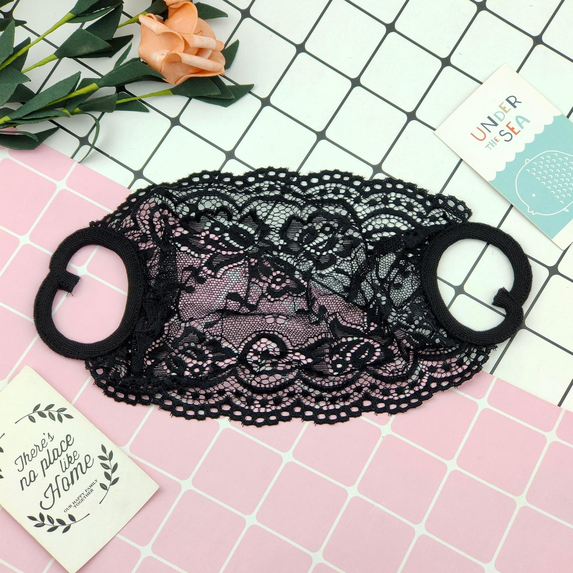 10pcs/lot Fashion Mouth Face Lace Flower Pattern Black And White Mask Unique Mask