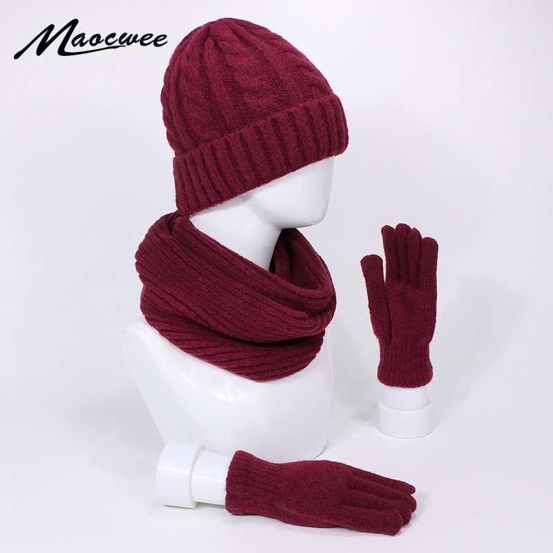 Three-piece Knitted Beanie Hat Scarf Gloves Set Winter Warm Outdoor Knitting Thickening Scarf Hat Gloves Set Windproof Warm Hats