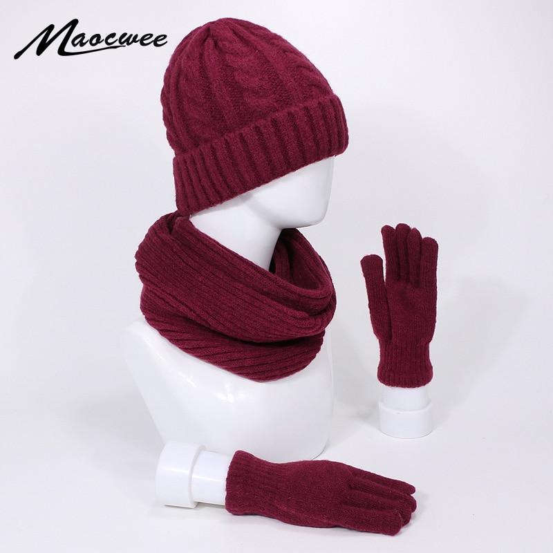 Three-piece Knitted Beanie Hat Scarf Gloves Set Winter Warm Outdoor Knitting Thickening Scarf Hat Gloves Set Windproof Warm Hats