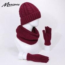 Three-piece Knitted Beanie Hat Scarf Gloves Set Winter Warm Outdoor Knitting Thickening Scarf Hat Gloves Set Windproof Warm Hats striped rib knitting warm beanie hat