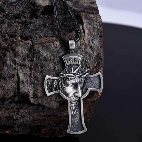 Avrupa ve amerika birleşik devletleri patlayıcı alaşımlı İsa çapraz erkekler hıristiyan kolye