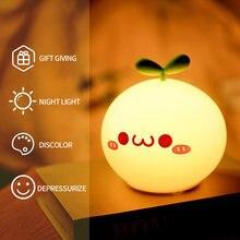 Usb led night light lâmpada de cabeceira sensor toque silicone macio presente dos desenhos animados 8 horas trabalhando crianças bonito noite luz kawaii decoração do quarto