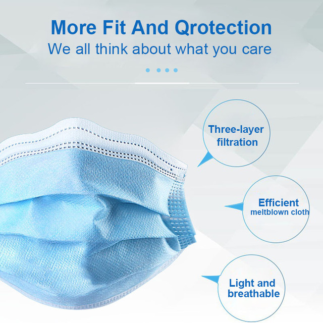Anti-Pollution 3 Laye Mask Dust Protection Face Masks Disposable Dust Filter Safety Mask Anti Flu Droplets Earloop Face Masks 5