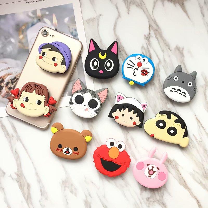 Universal Air Bag Cell Phone Bracket Cute Duffy Totoro Piglet Sullivan Monsters Cartoon Phone Stand Finger Holder