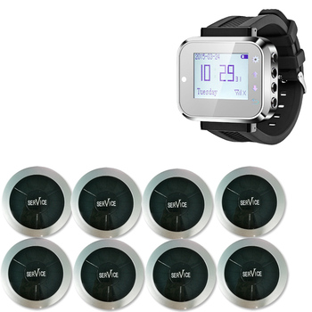 Bank Call System With Fashionable White Black Wireless Waiter Pager Calling System Watch and service call button