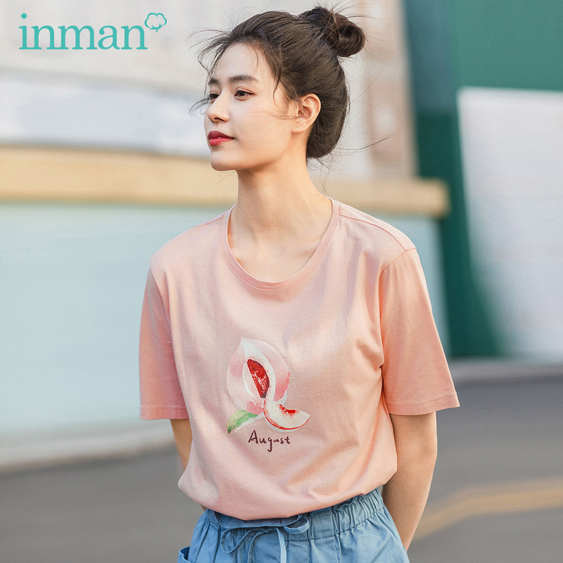 INMAN 2020 Summer New Arrival Literary Pure And Fresh  Pure Cotton Fruit Printed Loose Slimmed Short Sleeve T-shirt